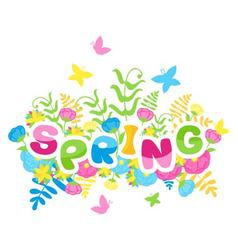 Spring inscription of colorful letters vector