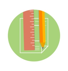 Pencil and ruler icon on a page vector image