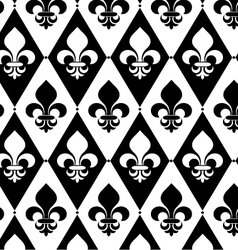 Black and white alternating fleur-de-lis on vector