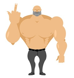 Strong man in jeans with big muscles shows fuck vector