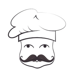 Chef funny cartoon face vector
