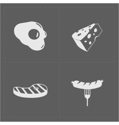 White fast food icon set on grery background vector