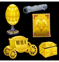Set of golden royal items on a black background vector