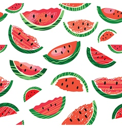Watermelon slice seamless pattern illus vector