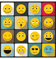 Emoticon icons set flat style vector