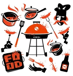 BBQ logo design template cooking or vector image vector image