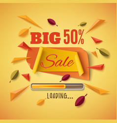 big sale banner with abstract leafs vector image