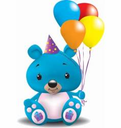 birthday teddy bear vector image vector image