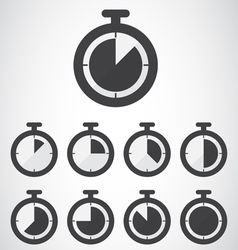 Black stopwatch icon vector