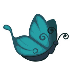 blue cartoon butterfly from side view isolated vector image vector image