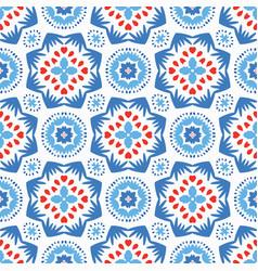 Blue flower pattern boho ornament vector
