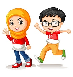 Boy and girl from singapore vector