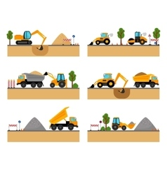 Building site machinery icons vector