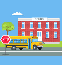 Bus standing in front of brick school vector