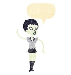 cartoon halloween girl with speech bubble vector image