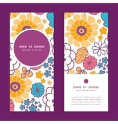 Colorful oriental flowers vertical round vector