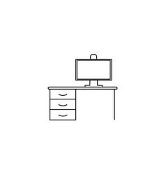 Desktop with computer icon vector