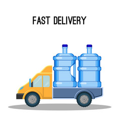 fast delivery promo poster with trunk that carries vector image