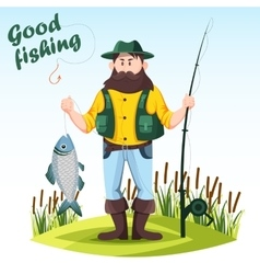 Fisherman with rod or spinning and catched fish vector