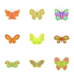 Flying butterfly icons set cartoon style vector