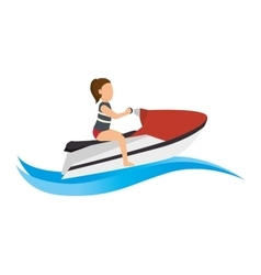 Girl riding water bike sport vector