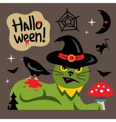 Halloween Green Cat Cartoon vector image vector image