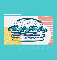 Hamburger poster with cool design vector