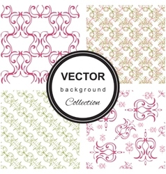 Hand drawn flower seamless pattern collection vector image