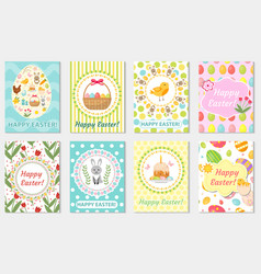 Happy easter greeting card collection flyer vector