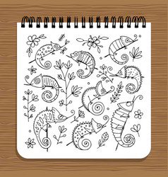 notebook design hameleon set vector image vector image