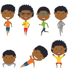 Running and work out african-american boys vector