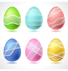 Set of 6 easter eggs with lace ribbon vector