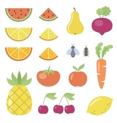Set of fruit and vegetable icons vector image