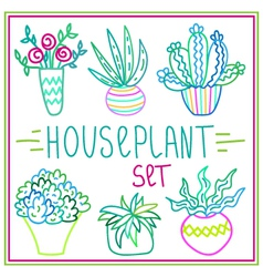 Set of hand-drawn doodle outline houseplants vector image