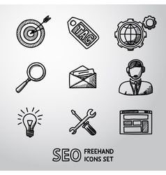 Set of SEO handdrawn icons - target with arrow vector image