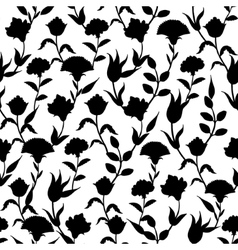 Silhouette Black White Turkish Flowers vector image