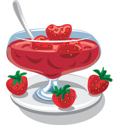 Strawberry jam in jar vector