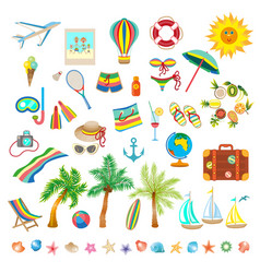 Summer beach set of icons vector