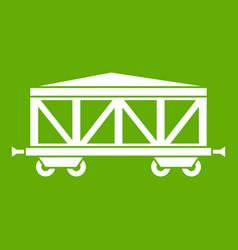 Train cargo wagon icon green vector