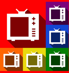 Tv sign set of icons with vector