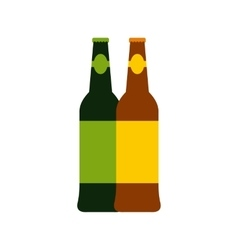 Two bottles of beer icon flat style vector image vector image