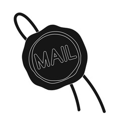 wax sealmail and postman single icon in black vector image