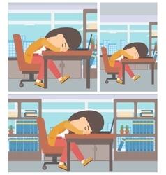 Woman sleeping on workplace vector image