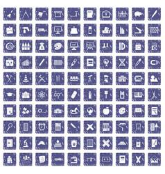 100 pensil icons set grunge sapphire vector