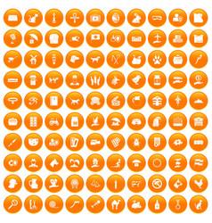 100 pets icons set orange vector
