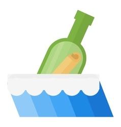 Bottle in sea vector image
