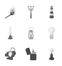 Light source set icons in monochrome style big vector