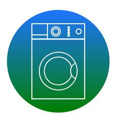 washing machine sign  white icon in bluish vector image