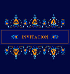 Greeting card invitation with oiental pattern vector