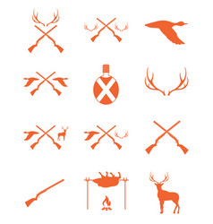 Hunting equipment and trophies icons set vector